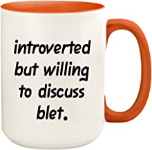 Introverted But Willing To Discuss Blet - 15oz Ceramic White Coffee Mug Cup, Orange