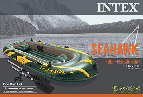 Intex Seahawk 4 Inflatable Boat Set + Oars/Pump/Motor Mount | 68351E+ 68624E
