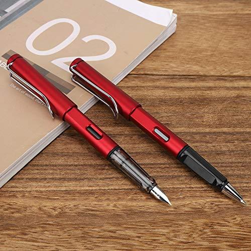 Práctico bolígrafo de tinta de caligrafía de acero inoxidable para escribir para regalo(red)