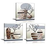 Piy 3x Impression Elegant arbre dans la Vase à Fleurs sur Toile Peinture motif modern Tableaux Home Déco Mural en Bois réel ,Impermeable, avec Cadre, Mur Art pour Chambre hotel Salle Cadeau 30x30cm