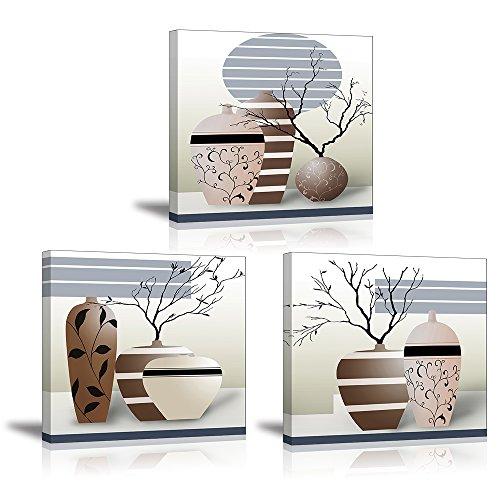 Piy Painting Wandbilder, Kunstdruck Wasserfarbe, Fotoleinwand elegant Pflanze Blumen Wandbild Kunstdrucke auf Leinwand Ölgemälde Malerei Home Deko für Wohnzimmer Schlafzimmer Flur Wand 30x30cm 3 Set