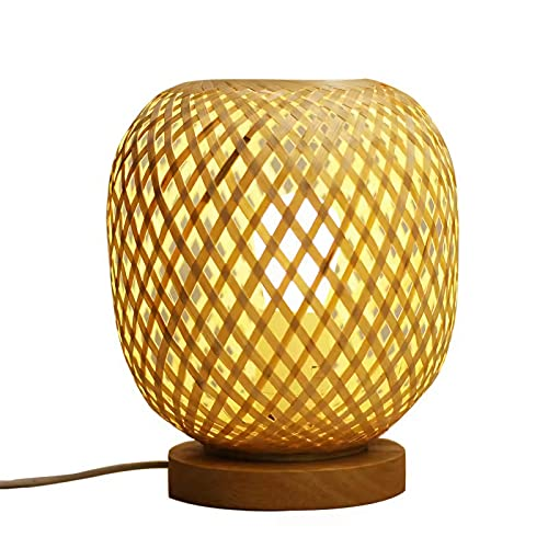 Kleine Tafellamp Bamboe Stof Natuurlijke Bamboe Tafellamp Handgeweven Hout Bedlampje E27 Decoratieve Slaapkamer Lamp…