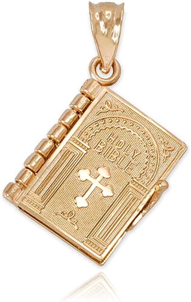 Certified 10K or 14K Yellow, White, or Rose Gold 3D Holy Bible Book w/Lord's Prayer Inside Pendant