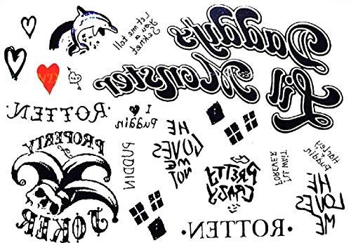 Tatuaggi Temporanei Per Adulti Tattoo Adesivi Ad Acqua Stickers Per Il Corpo Finti Tatoo Removibili Quinn Donna Ragazza Carnevale Halloween Cosplay Film Ottima Idea Regalo
