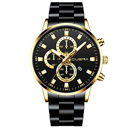 Herren Uhren Armbanduhr Chronograph Zahlen Zifferblatt Quartz Uhr mit Edelstahl Armband, Männer Business Quarzuhr Klassisch Herrenuhr Minimalistische Wasserdicht Celucke