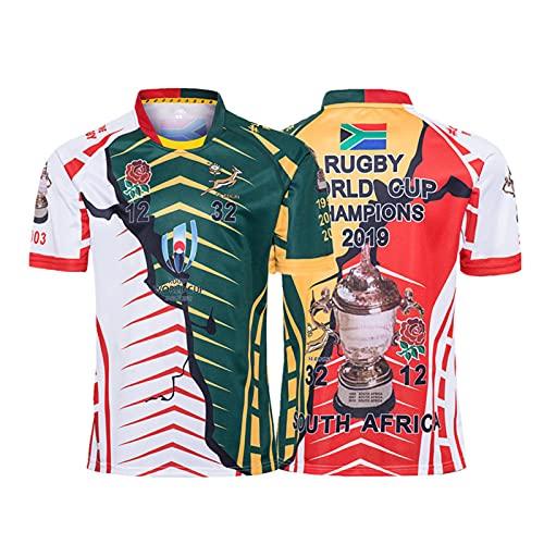 MEIBAO 2019 South Africa Word Cup Champion Rugby Jersey,Deportes De Verano Camiseta Casual Transpirable Camisa De Fútbol Camisa De Polo S