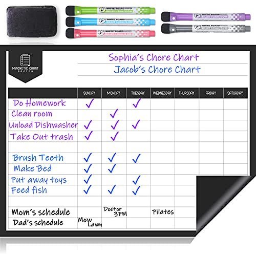 Magnetic Chore Chart for Refrigerator– Dry Erase Behavior Chart for Multiple Kids and Adults – Responsibility Reward White Board Chart –...