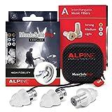 Alpine MusicSafe Pro Music Ear Plugs – Musicians Ear Plugs for Noise Reduction – Concert Earplugs - 3 Noise Reducing Ear Plug Filter Sets - Hypoallergenic Reusable Earplugs, Transparent