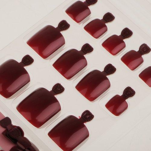 Gazechimp einfach und gesund, 24 Stk. Fußnägel, Nagelspitzen, unrechte und künstliche Nägel mit Nagelfeile, in verschiedenen Farben - Weinrot