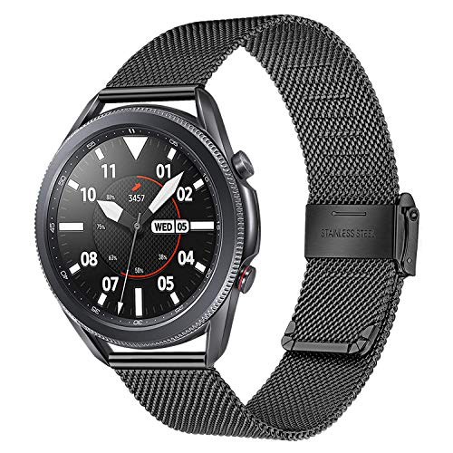 TRUMiRR Ersatz für Galaxy Watch 3 45mm Armband, Mesh Gewebt Edelstahl Uhrenarmband Quick Release Armband Business Ersatzband für Samsung Galaxy Watch3 45mm Smartwatch