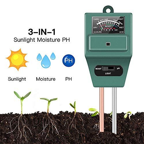 HJG 3 in1 del Suelo del medidor de pH, Herramienta para el jardín Tester Digital Ph Humedad del Suelo luz del Sol Durante Plantas Flores Césped Granja