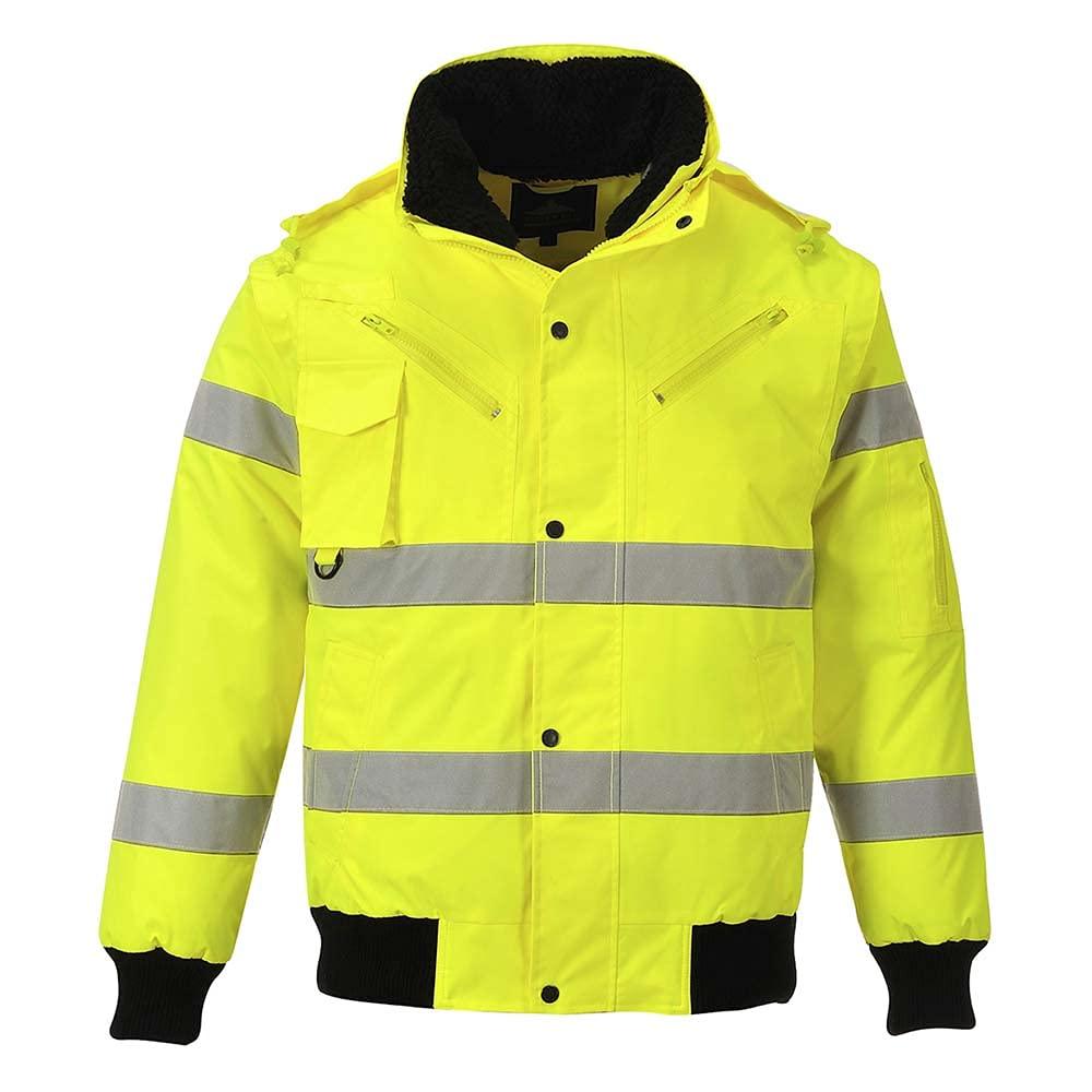 Portwest Workwear Mens Hi-Vis 3 in 1 Bomber Jacket Yellow XXL