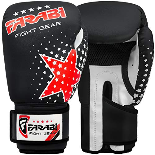 Farabi Kids Boxing Gloves 6-oz Kick Boxing Training Muay Thai, Age 4-9 year old (Black)