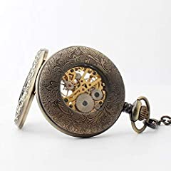 "Avaner Steampunk Retro Half Hunter Copper Gear Skeleton Hand Wind Mechanical Roman/Arabic Numeral Analog Display Pocket Watch with 14""Chain (Brown) #5"