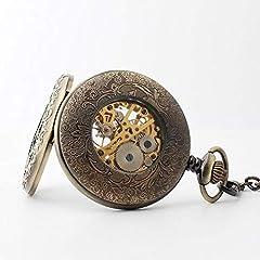 "Avaner Steampunk Retro Half Hunter Copper Gear Skeleton Hand Wind Mechanical Roman/Arabic Numeral Analog Display Pocket Watch with 14""Chain (Brown) #5"