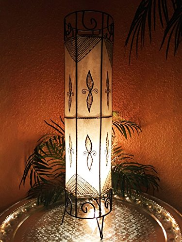 Orientalische Stehlampe Neslihan Natur 80cm Lederlampe Hennalampe Lampe | Marokkanische Große Stehlampen aus Metall, Lampenschirm aus Leder | Orientalische Dekoration aus Marokko (Natur)