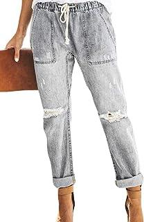 SHOWNO Women's Fashion Elastic Waist Distressed Denim Jeans Pants