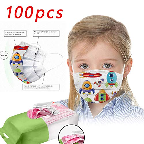 Tanglang 50/100 Pcs New Disposable face Macks Series, 3-Layer Printing Fashion Children's Disposable face Shield (100 PC-Multicolor)