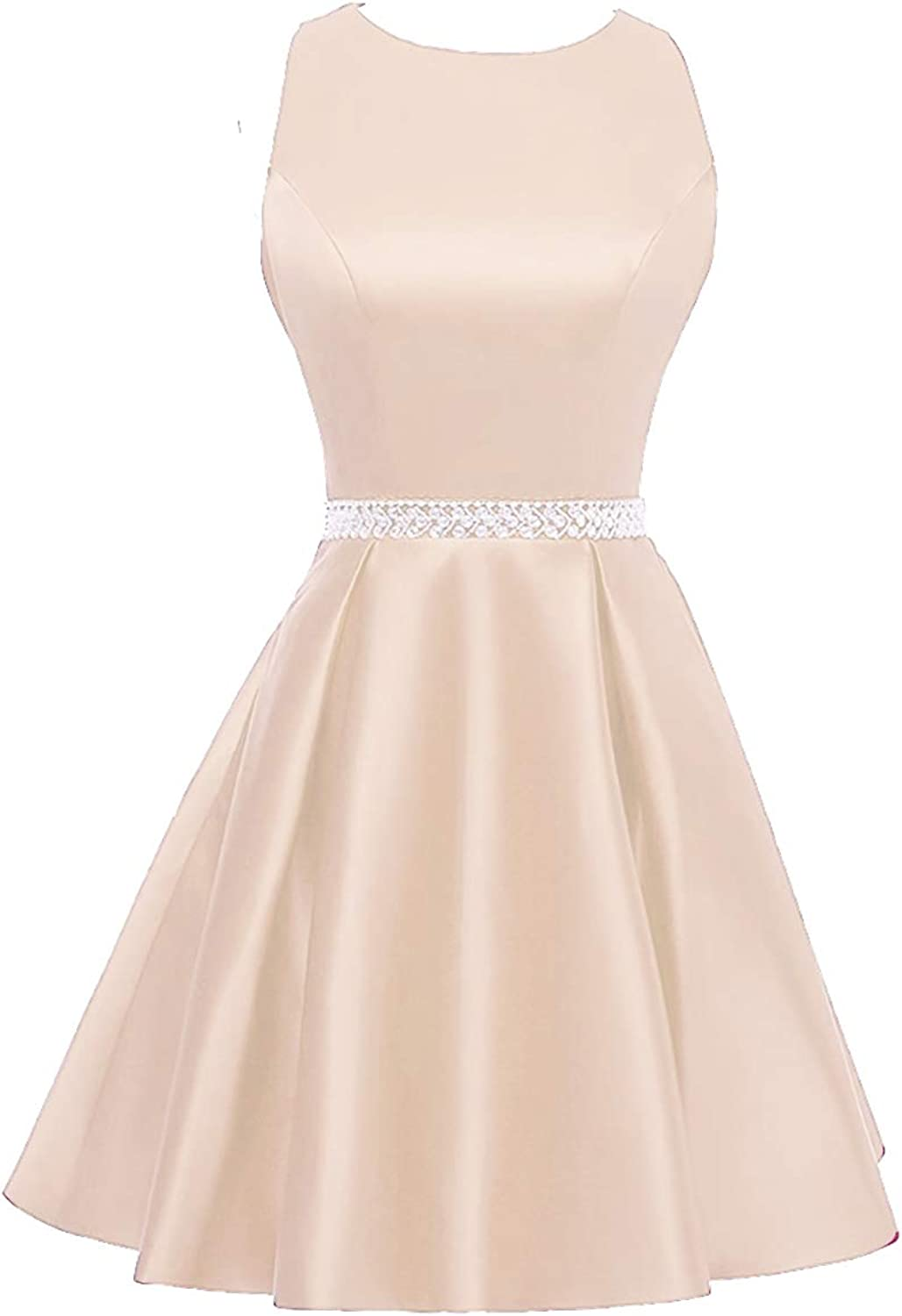 Beaded Homecoming Dresses Short Satin Cocktail Prom Dress Party Formal Gowns