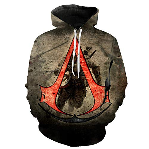 3D Assassin'S Creed Capucha Camisa de Entrenamiento Unisexo Manga Larga Camisas Top Transpirable Suéter-A_L