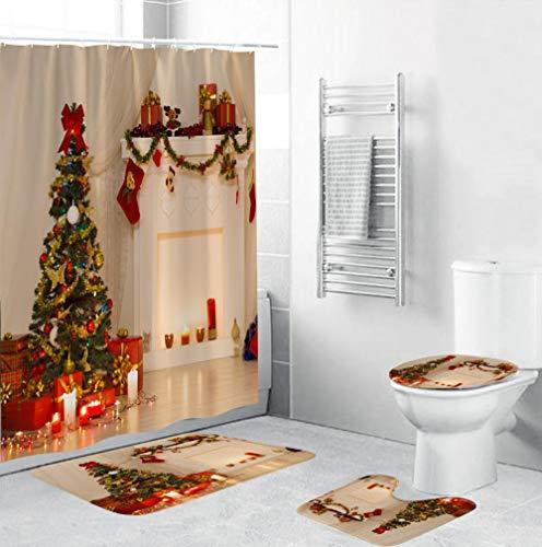 EZEZWSNBB Bagno Doccia 4 Pezzi Set Albero di Natale Set da Bagno Antiscivolo,Tenda da Doccia + Tappetino da Bagno + WC Coprisedile Tappetino + Tappetino Contorno Decorazioni per la casa