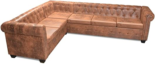 vidaXL 6 Seater Chesterfield Corner Leather Sofa Couch Chaise Lounge Bed Brown
