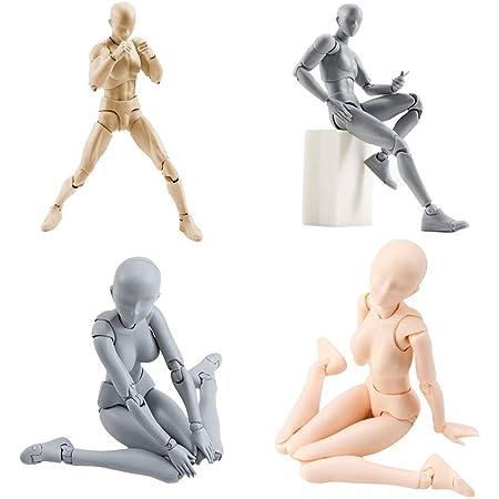 フルミット デッサン人形 モデル人形 フィギュア 漫画 キャラクター イラスト デッサン 作画 練習 男性 女性 模型 小道具 スタンド付き ドールタイプ 素体 (メンズ(肌色))