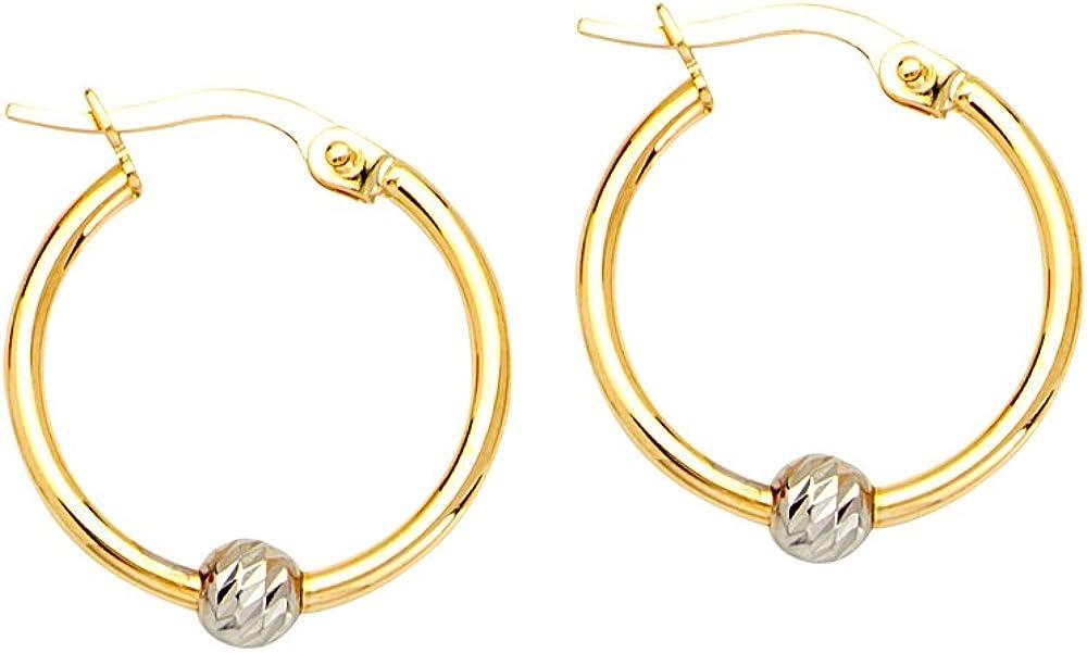 Hoop Earrings, 10Kt Gold Tt Round Hoop Ear W/Diamond Cut Bead Element