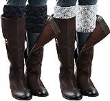 Chalier 2 Paare Damen Winter Beinwärmer Stulpen Häkelarbeit Bein Wärmer Verdicken MEHRWEG
