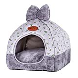 laamei Cat Tent, 2-in-1 Pet Bed House Self- Warming Cat Kitten Puppy Cave Basket with Removable Cushion Cover Two Way Conversion Triangle Cat Bed House Large Grey 1515 inches