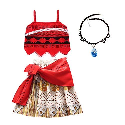 Thombase Moana Vaiana Traje de Princesa bebé niña Aventura Infantil para el Carnaval de Halloween Cosplay Ropa con Collar (Rojo-3, 1-2 año)