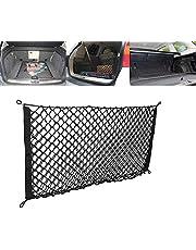 Car Storage Mesh Organizer, Car String Bag Trunk Storage Bag Jeep 90x40cm Universele auto-organizer achter Netto bagagenet met 4 haken voor de meeste soorten voertuigen