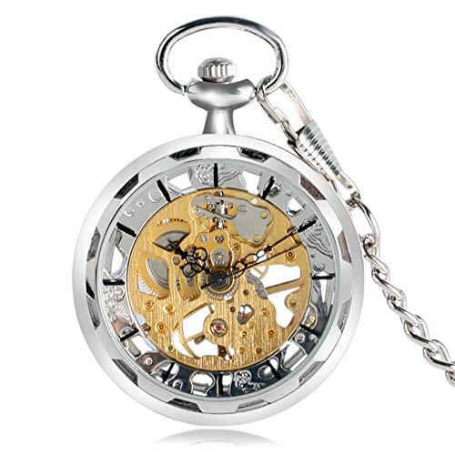 ZHAOXIANGXIANG Reloj De Bolsillo Retro,Reloj De Bolsillo Vintage con Cadena De Bolsillo Reloj De Bolsillo Mecánico De Diseño Abierto Reloj Colgante De Bolsillo Hombre, Plata