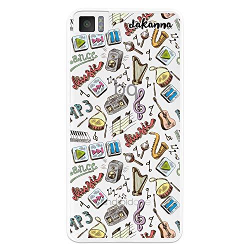 dakanna Funda para [Bq Aquaris M4.5 - A4.5] de Silicona Flexible, Dibujo Diseño [Pattern Instrumentos de Musica con Frase], Color [Fondo Transparente] Carcasa Case Cover de Gel TPU para Smartphone