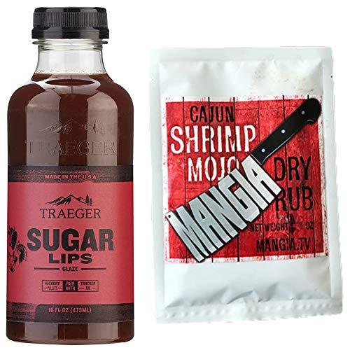 Traeger Sugar Lips Glaze BBQ Sauce- Bundled with Mangia's 1oz. Award-Winning Dry Rub Seasoning