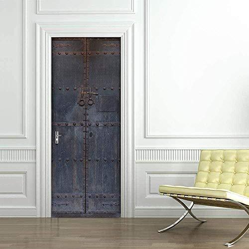 Vintage schmiedeeiserne Tor Tür selbstklebende Tapete DoorPoster DIY selbstklebende Wand Foto PVC wasserdichte Tapete -80X200CM