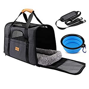 morpilot Pet Travel Carrier Bag, Portable Pet Bag – Folding Fabric Pet Carrier, Travel Carrier Bag for Dogs or Cats, Pet Cage with Locking Safety Zippers, Foldable Bowl, Airline Approved