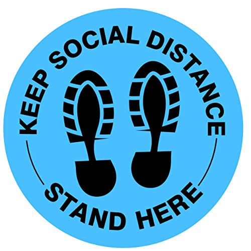 Social Distancing Floor Decal Stickers - 30 Pack 8'' Stand Decal - Strong Adhesive - Stand Here Sign 6 Feet Safety Distance Sticker Markers for Shopping Mall, Grocery, Pharmacy, Bank, Lab