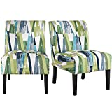 YAHEETECH Armless Accent Chair Sofa Side Chair Upholstered Dining Chair Bedroom Living Room Chair Set of 2