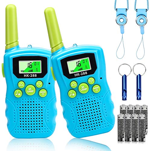 ADDUBEAU Walkie Talkies for Kids, 2 Pack Walky Talky Outdoor Toys with Flashlight & LCD Screen, 22 Channels 2 Way Radio Walkie-talkies for Boys & Girls, Gift Toy for Camping Adventure ( Blue )