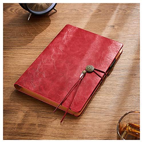 SFF Cuadernos de Oficina Taccuino Loose PU Cuaderno de Tapa Dura de Cuero Vegano Hoja de Papel Grueso 100gsm Crema con Cierre elástico Cuaderno de Tapa Blanda (Color : Red)