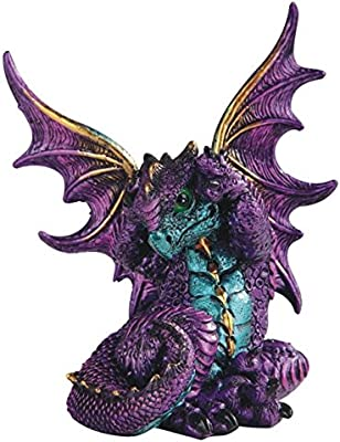 "Major-Q G8071765 6"" Purple Poison Dragon with Gold Trim Wings Statue Figurine Home Decor Sculptures Polyresin"