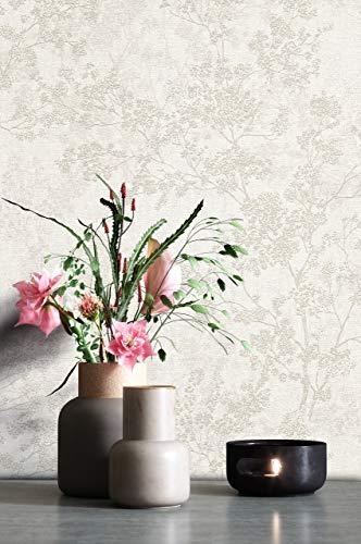 NEWROOM Tapete Creme Vliestapete Blumen - Blumentapete Floral Weiß Beige Blätter Blüten Mustertapete Modern Natur inkl. Tapezier-Ratgeber