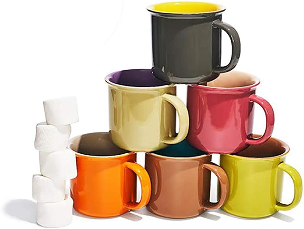 Yedi Houseware Set Of 6 Jumbo 20 Oz Porcelain Mugs Coffee Tea Cocoa Set Of 6 Hot Assorted Colors