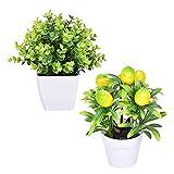 WUHNGD Mini plantas artificiales en maceta de plástico sintético de...