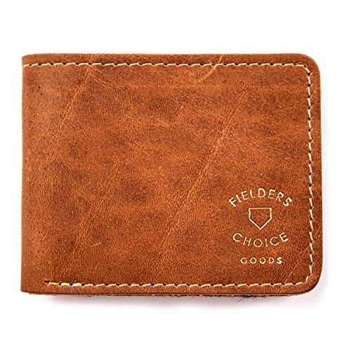 Fielders Choice Goods Brown Billfold Wallet Leather Bifold, Men and Women - Handcrafted from Repurposed Baseball Gloves