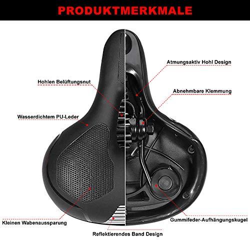 toptrek Fahrradsattel Memoryschaum gefüllt MTB/BMX Sattel mit überzug Bequemer Hohl und Ergonomischer Fahrradsitz Breiter Tourensattel Velo Sattel Herren Damen für Rad/Rennrad/Mountainbike/EMTB - 3