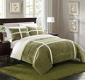 Chic Home 3 Piece Chloe Mink Sherpa Lined Comforter Set Queen Green