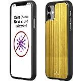 CuCase Funda para teléfono móvil compatible con iPhone 11 [elimina naturalmente virus y bacterias]   Funda para teléfono móvil [antigolpes] carcasa protectora, protección antigolpes (dorado, negro)