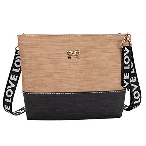 Fanspack Women's Crossbody Bag PU Leather Satchel Shoulder Bag Messenger Bag Purse with Printed Shoulder Strap
